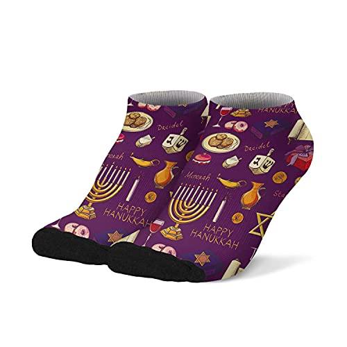 Men's Athletic Ankle Socks Hanukkah Symbols Men's Low Cut No Show Socks Performance Hidden Comfort Casual Novelty Shorts Socks for Men