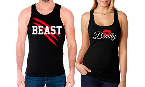 SR New Beast and Beauty Tank Tops -Matching Couple Shirts - His and Her Tank Tops - Love Shirts-X-Large-(Beauty ONLY)