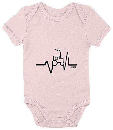 Hariz - Body de manga corta para bebé, diseño de tractor, para niños, incluye tarjetas de regalo Algodón de azúcar rosa. Talla:3-6 meses