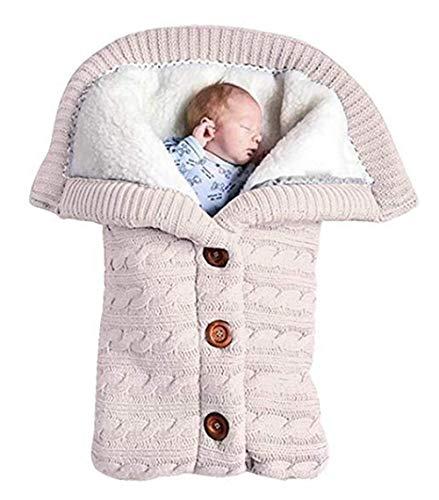 Schlafsäcke Baby Winter,Neugeborenes Baby Gestrickt Wickeln Swaddle Decke Kinderwagen Schlafsack für 0-24 Monat Baby (Weiß, 68x 40cm)