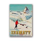 WJWGP Zermatt Schweiz Matterhorn Landschaft Poster Vintage