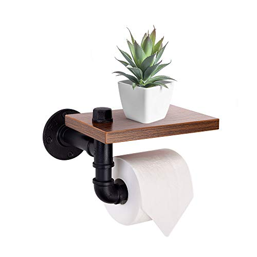 YOUNG&TAYLOR Wall Mounted Toilet Paper holder with Wooden...