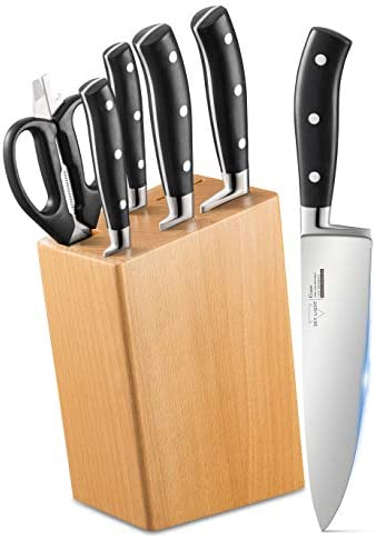 SKY LIGHT Knife Set 6 Pieces Kitchen Knives with Wooden Block German Stainless Steel Chef Knife product image