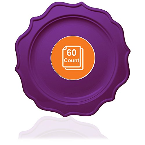 Tiger Chef 60-Count, 10-inch Purple Color Round Scalloped Rim Disposable Plastic Plate Set Includes 60 Plastic Dinner Plates - BPA-Free