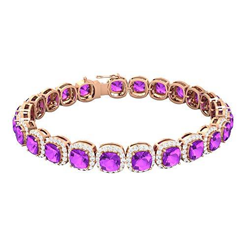 Rosec Jewels 14 quilates oro rosa cojín Round Brilliant Purple Creado en laboratorio de kunzita Moissanite