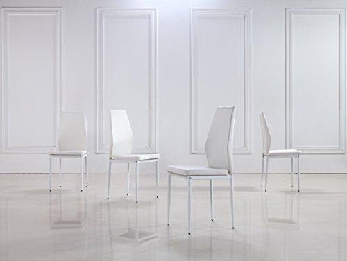 i-flair 4er Set Stühle Stuhl Esszimmerstühle, Küchenstühle mit hochwertigem Kunstlederpolster Raul (4, Weiß)