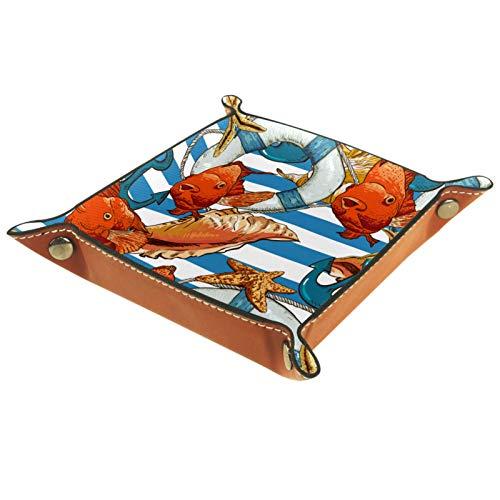 Caja de almacenamiento pequeña, bandeja de valet para hombre,Pescado de rayas con ancla ,Organizador de cuero para llaves de caja de monedas