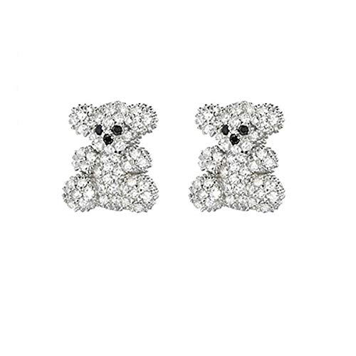 baobei Pendientes de plata de ley 925 con diseño de oso de osito de peluche con circonitas cúbicas para regalo para mujeres y niñas con caja de joyería