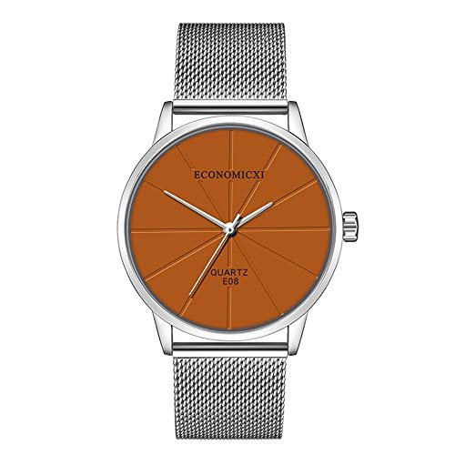 Bokeley Men's Watches, Wristwatches, Men's Fashion Sport Stainless Steel Mesh Band Quartz Analog Wrist Watch (E)