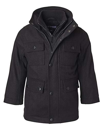 Sportoli Boys' Classic Wool Blend Military Winter Dress Pea Coat Peacoat Jacket - Black (Size 10/12)