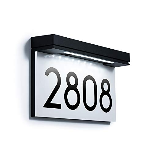 Address Plaques for House Solar Powered, House Number for Outside, LED Address Sign Outdoor Waterproof 6000K Daylight White