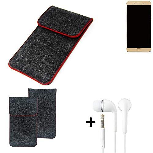 K-S-Trade Handy Schutz Hülle Für Allview X4 Soul Lite Schutzhülle Handyhülle Filztasche Pouch Tasche Hülle Sleeve Filzhülle Dunkelgrau Roter Rand + Kopfhörer