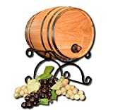 THOUSAND OAKS BARREL CO. | Bag-N-Barrel with Wrought Iron Stand, Wine Bag Dispenser - Perfect Home and Kitchen Gift for Decanting, Storage (Blank, Non-Customized)