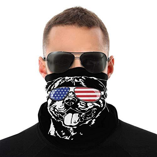 VOROY Patic Rottweiler - Gafas de sol unisex con bandera americana, multifuncional, de microfibra para el cuello, bufanda, pañuelo para la cara, ma-sk, polaina para el cuello