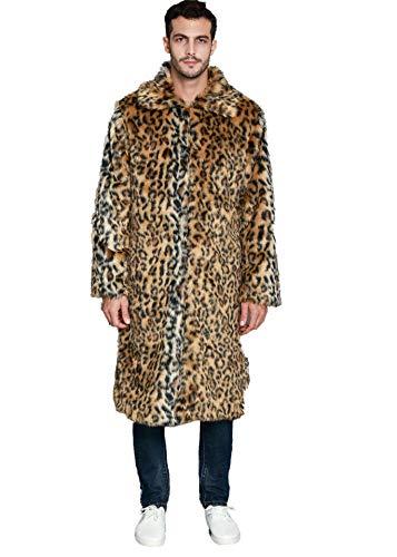 Amore Bridal Mens Faux Fur Coat Long Black Jacket Warm Furry Overcoat Outwear (XXX-Large, Picture A)