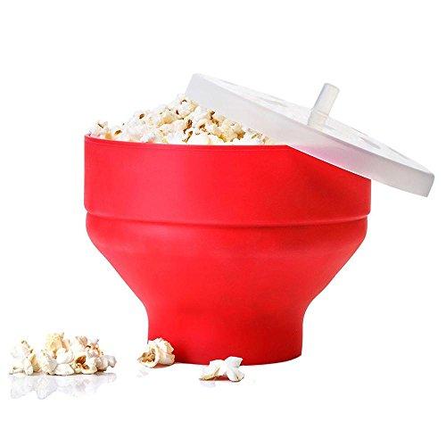JIAJU Mikrowelle Popcorn Silikon Pop Corn Schüssel Eimer mit Deckel Küche Backen Werkzeuge