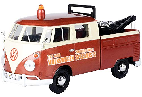 Volkswagen Type 2 (T1) Tow Truck Volkswagen Specialists Brown Metallic and Cream 1/24 Diecast Model Car by - Motormax 79585