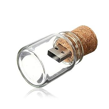 8GB Thumb Drive Glass USB Flash Drive Drift Bottle USB 2.0 Stick Kepmem Jar Memory Sticks Cute Pendrive Gift Creative Jump Drive Cork Zip Drive for Friend School Kid