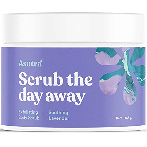 ASUTRA Dead Sea Salt Body Scrub Exfoliator (Soothing Lavender), NEW BIGGER 16 oz Size | Ultra Hydrating, Gentle, & Moisturizing | Coconut, Lavender, and Bergamot Oils | Includes Wooden Spoon
