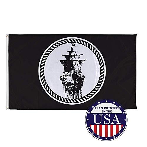 AEMAPE Colección de Banderas Piratas Jolly Roger Barco Pirata Fantasma Bandera de poliéster Tejida de 3 pies x 5 pies