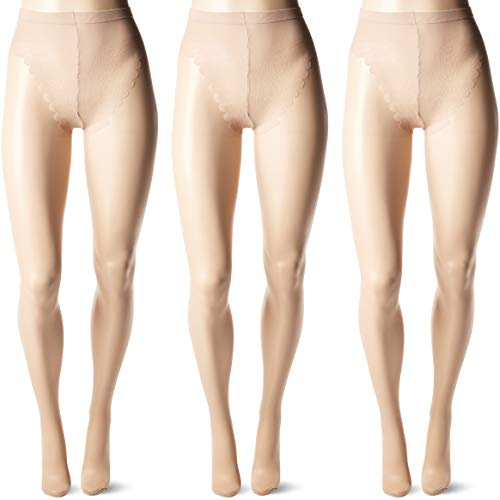 HUE Plus Size Women's So Sexy Toeless Sheer with Lace Control Top Hosiery, 3 Pack Natural, 4