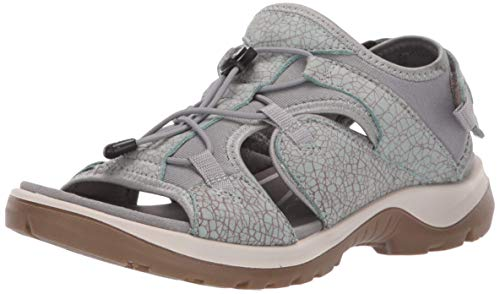 ECCO Women's Yucatan Toggle outdoor offroad hiking sandal, ice flower/cocoa brown toggle, 8 M US