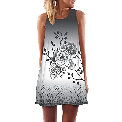 Vestido De Chaleco De Longitud Media con Estampado Sexy para Mujer Vestido De Playa De Verano Vestido De Sol Retro Vestido De Fiesta Vestido De Sol De Flores Vestido De Patinaje Informal L
