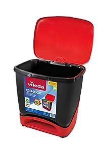 Vileda Cubo Ecologic - Cubo de basura ecológico especial para reciclaje, múltiples combinaciones, capacidad de 39 litros, Sin separadores, color rojo y negro
