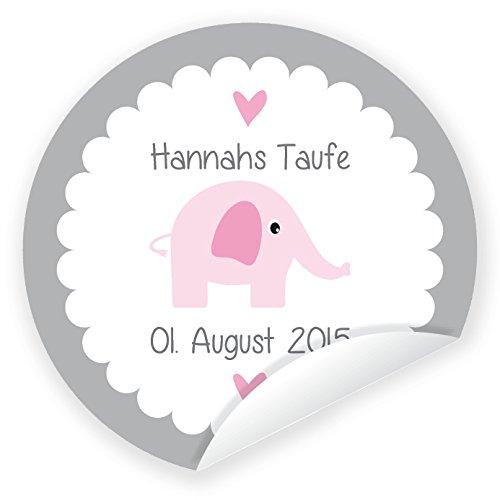 in due Aufkleber 'Elefant' 24 Stück (4 cm) personalisiert Taufe Geburt Junge Mädchen