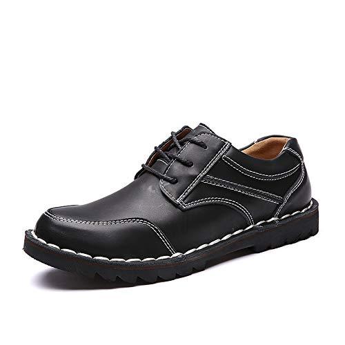 JIEIIFAFH Botas de Seguridad en el Trabajo for los Hombres-Top Zapatos de Cuero genuinos con Cordones Estilo Fuerte Anti Slip Suela Caballo Senderismo Fácil Cuidado (Color : Red, Size : 42 EU)