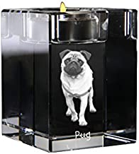 Pug, Crystal Candlestick, Candle Holder with Dog, Souvenir, Limited Edition