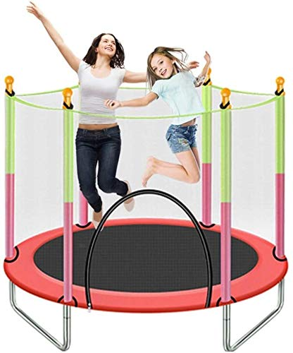 LERSS Indoor adult children's trampoline, 56-inch fitness trampoline, mini sports trampoline with enclosed mesh spring cushion backboard machine, for indoor / garden / cardio exercise