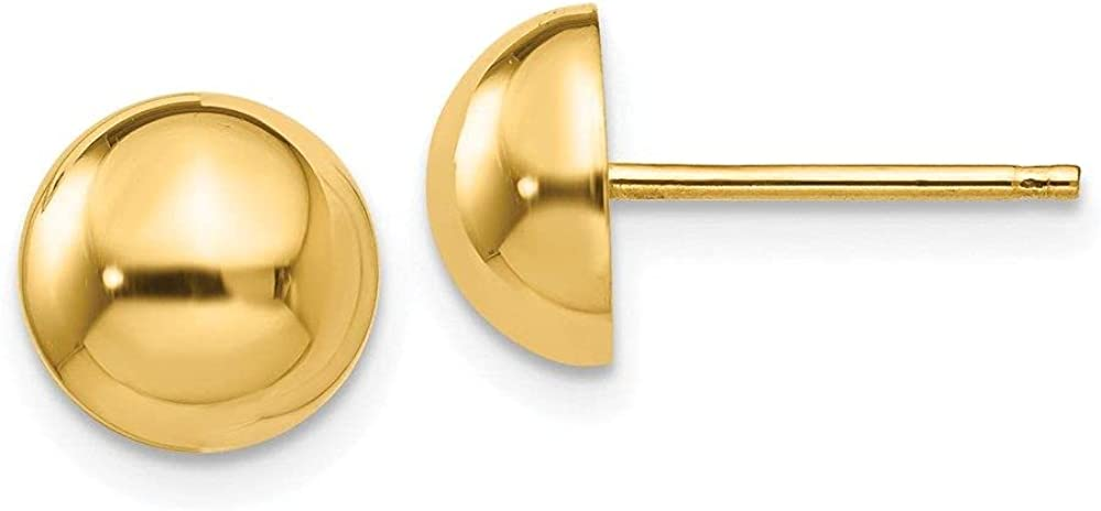 Jewelry-14k A surprise price is realized Polished 8mm Half Post Earrings Ball Regular store