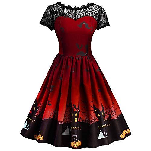 MIRRAY Damen Halloween Retro Lace Vintage Kleid eine Linie Kürbis Schaukel Kleid …