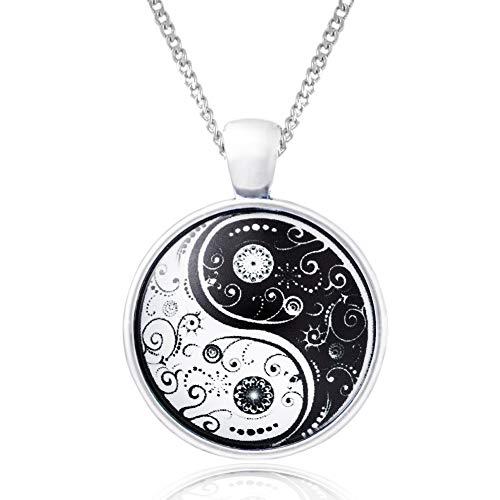 Klimisy - Yin Yang Halskette mit Anhänger - Buy one & Plant one Tree - Hochwertige Kette mit Yoga-Medaillon aus Glas - Eco & Fair