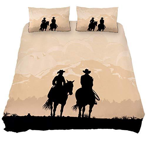 Juego de funda de edredón de 3 piezas, tela 100% natural, ropa de cama Morden Cowboy Pareja montando un caballo al atardecer, estilo silueta con cierre de cremallera