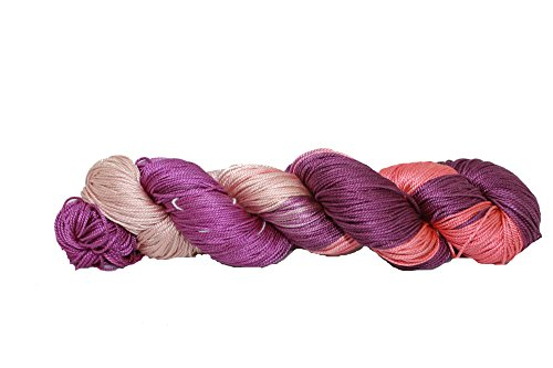 Mulberry Silk 3-ply Hand Tie and Dyed Yarn (50 Grams, 260+ Yards) | Silk Yarn for Knitting, Weaving or Crocheting