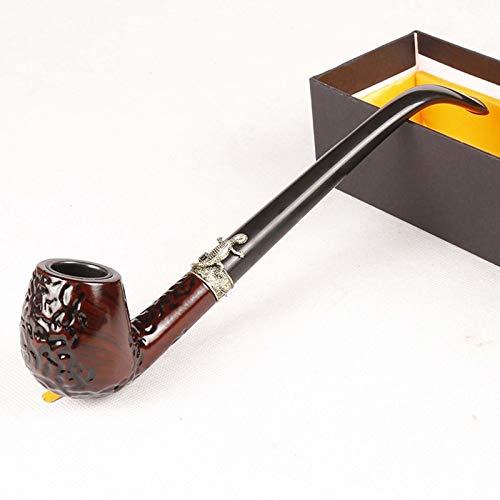 Tubo de fumar tabaco de madera, tubo de tabaco de palisandro, tubo de fumar de madera profundo y a prueba de viento con soporte para tuberías, accesorios para fumar y envuelto con caja de regalo,Cz651