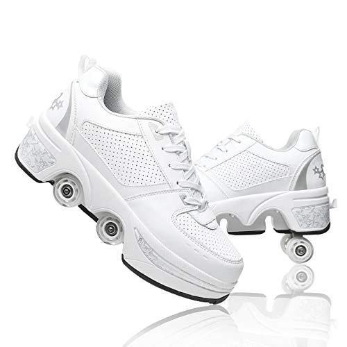 Pinkskattings@ Damen Und Mädchen Rollschuhe Skateboard Schuhe Kinderschuhe Mit Rollen Skate Shoes Rollen Schuhe Sportschuhe Laufschuhe Sneakers Mit Rollen Kinder (Weiß, 36)