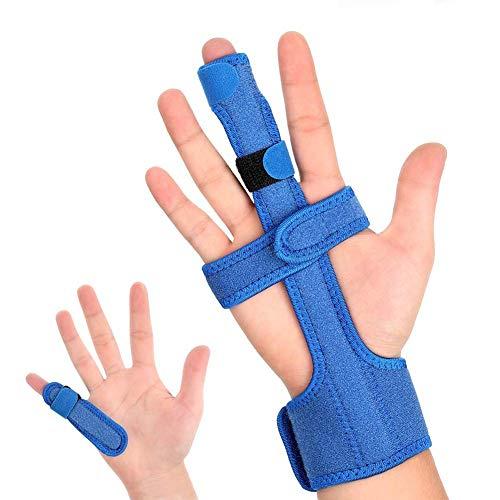 DOACT Fingerschiene Fit Linke/Rechte Hand füR Mittel Zeige Ring Kleiner Daumen Finger, Einstellbare Trigger Fingerbandage Orthese bei Arthrose Tenosynovitis Sport Verletzung kapselriss (1-Blau)