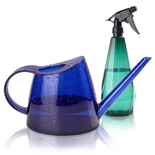 YiDiar Plant Watering Can Indoor Outdoor Small Water Can Long Spout 1.4L 1/3 Gallon for Succulents Bonsai House Potted Plants Garden Flowers, with Plant Mister Spray Bottle (Blue)