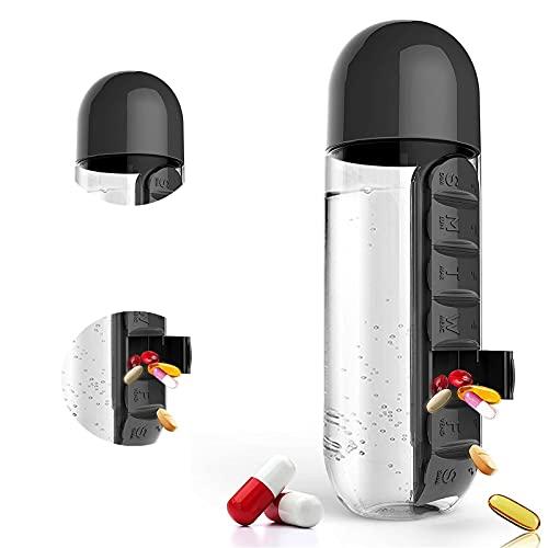 Organizador de píldoras Botella de agua, Botella de agua portátil con caja de píldoras Botella de agua Recordatorios semanales de la caja de píldoras Al aire libre, botella de agua 2 en 1 cápsula C