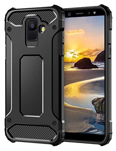 Coolden Samsung Galaxy A6 2018 Hülle, Premium [Armor Serie] Outdoor Stoßfest Schutzhülle Tough Silikon + Hard Bumper Militärstandard Handyhülle für Samsung Galaxy A6 2018(Schwarz)