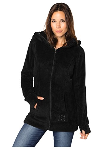 Sublevel Damen Kuschel Fleece-Mantel aus Teddy-Fleece black1 M