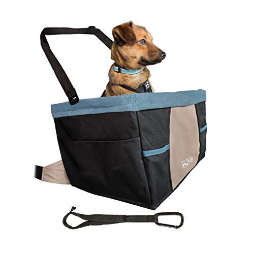 Kurgo Rover Booster Dog Car Seat with Seat Belt Tether, Black/Blue, Front Car Seat (K01144)