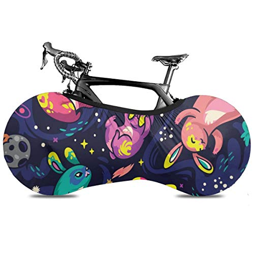 Cubierta de la bicicleta portátil de dinosaurio de dibujos animados de astronauta cubierta de la rueda de alta elasticidad de la cubierta protectora de la rueda de la bicicleta Rip Stop neumático de carretera mtb bolsa de almacenamiento, Conejitos explorar el espacio, talla única
