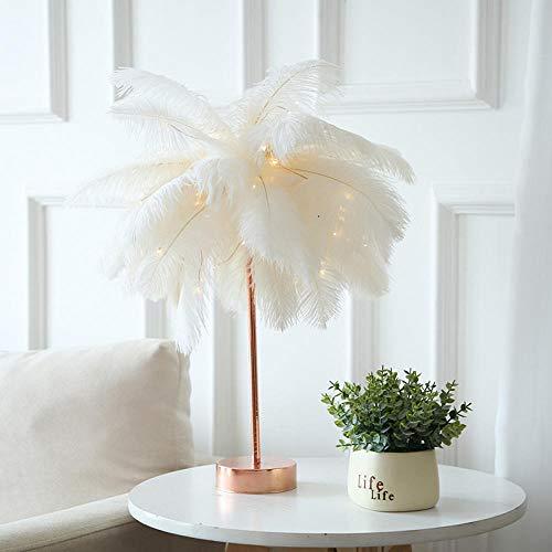 Lámpara de mesa de plumas creativa moderna Árbol de diente de león Luces de noche para el hogar Noche Habitación de niña Luces de decoración de bodas Regalo de cumpleaños de hadas-Blanco