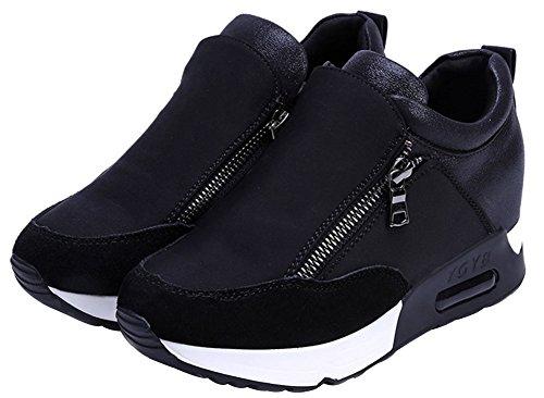 wealsex Cuñas Cierre De Cremallera Zapatos para Correr En Montaña Asfalto Aire Libre Deportes Zapatillas De Running para Mujer (Negro,37)