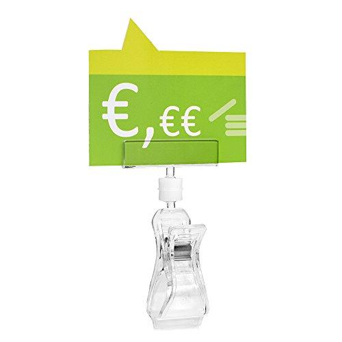 10 Stück Schildhalter für die Preisauszeichnung mit Großer Klammer (Rohre/Materialien bis 30mm Ø)