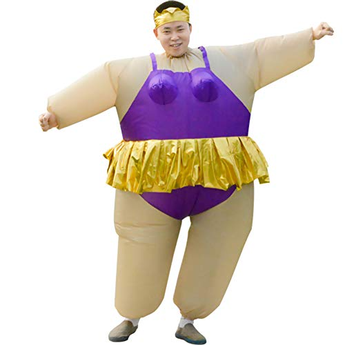 HUAYUARTS Inflatable Costume Ballet Game Cloth Adult Funny Blow up Suit Halloween Men's Costume Purple Cosplay, Plus Size